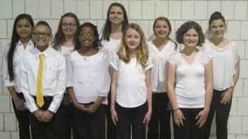 Caption: Riverwood Middle All-State Chorus performers on the front row (from left) are Jonathan Durham, Tarynn Neal, Kami Overby, and Kara Matthews. On the back row are Panisara Purcell, Ella Grace Bussemas, Brynne Haller, Caison Bates, and Mariah Latorre High School.
