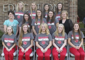 The North Johnston High School cheerleaders competing at nationals on the front row (from left) are Jenna Hughes, Riley Kyle, Haley Massey, Savannah Massey, Ashlyn Smoot. On the middle row are Coach Lynda Sutton, Alexis Thrash, Jill Narron, Bre Woodruff, and Coach Teresa Lewis. On the back row are Anna Godwin, Kylie Crocker, Victoria Ramos, and Kayla Overton.