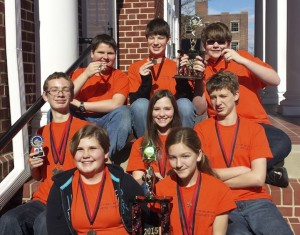 Cleveland Middle School Mathcounts teams pictured, left; front row. Julianne Faucett and Sydney Epps. Middle, Russell Hartz, Hailey Acosta, and Philip Velie. Back, Matthew DeBlois, Ryan Ayscue, and Nathan Crumpler.