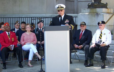 "David ""Mike"" Wegman, Retired CDR United States Navy was the guest speaker for the Memorial Day Ceremony at the Johnston County Courthouse."