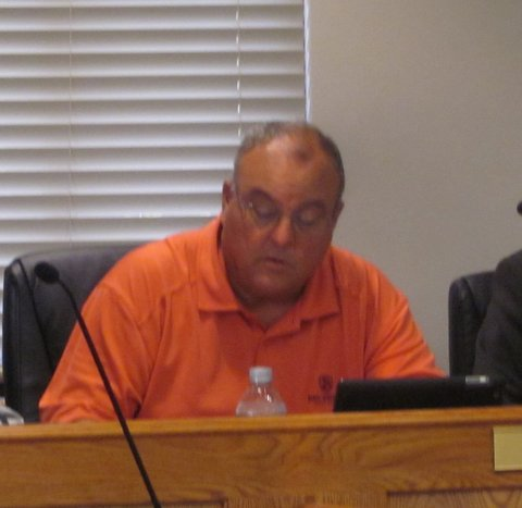 Town Councilman  discusses the Archer Lodge Veterans Memorial.