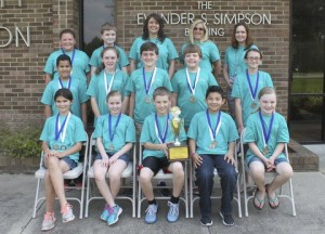 Meadow School Battle of the Books team members on the front row (from left) are Jada Barefoot, Lyda Boone, Elliot Butler, Jaleel Carranza, and Reagan Williford. On the middle row are Jared Carranza, Kaitlyn Giddens, Preston Parker, Braden Raynor, and Emma Stewart. On the back row are Anna Knowles, Adam Miller, Coach Rhonda Langston, Coach Lori Keith, and Coach Heather Sutton. ​