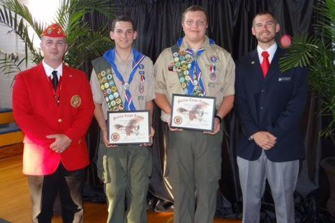 Pictured (left to right) Eagle Scout Coordinator Lewis W. Rice III, Eagle Scout Bryce Clay Ivey, Eagle Scout Kyle Murphy Williams, and Master of Ceremonies Ryan Roberts.