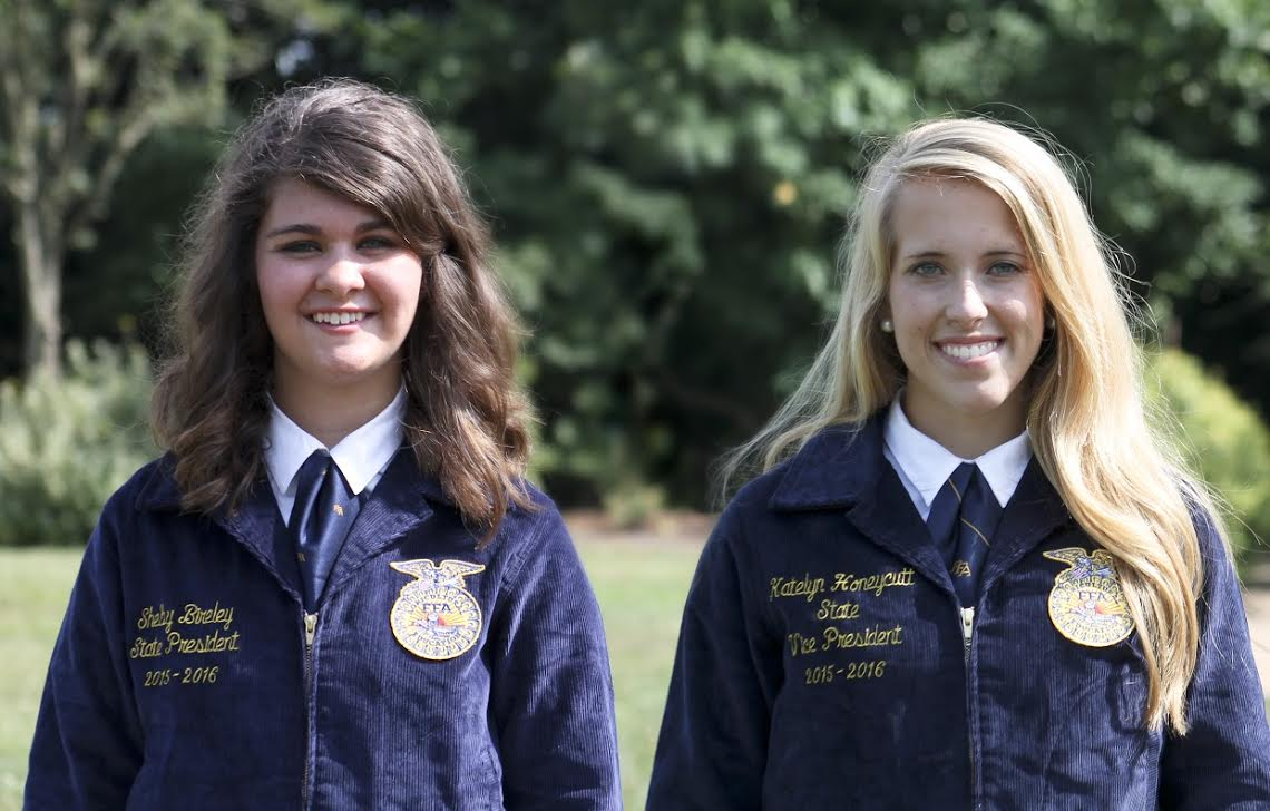 (Left to right) Shelby Bireley, State FFA President, and Katelyn Honeycutt, State FFA Vice President.