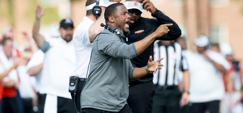 Campbell football coach Mike Minter. Photo by Bennett Scarborough