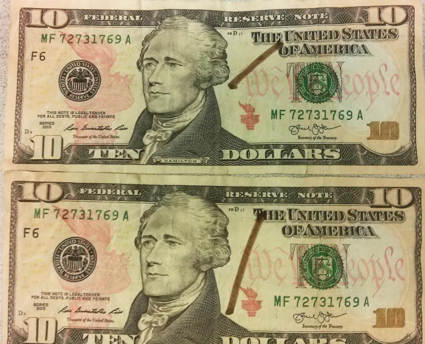 Counterfeit 10 Bill