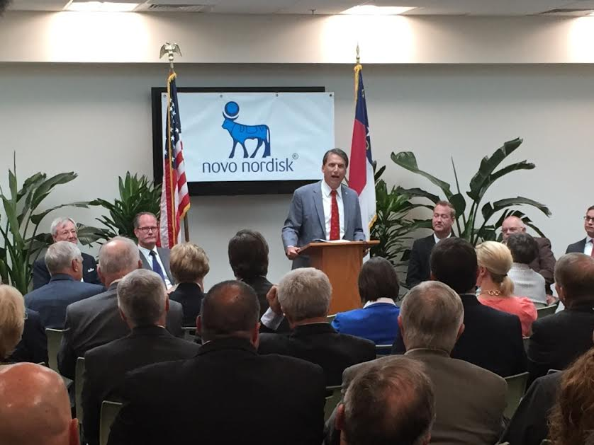 NC Gov. Pat McCrory, speaking at the Johnston County Workforce Development Center in Clayton, made the official announcement that Novo Nordisk will add nearly 700 jobs at a new Clayton production facility to meet the increased worldwide demand for its diabetes medicines.   Photo by John Payne