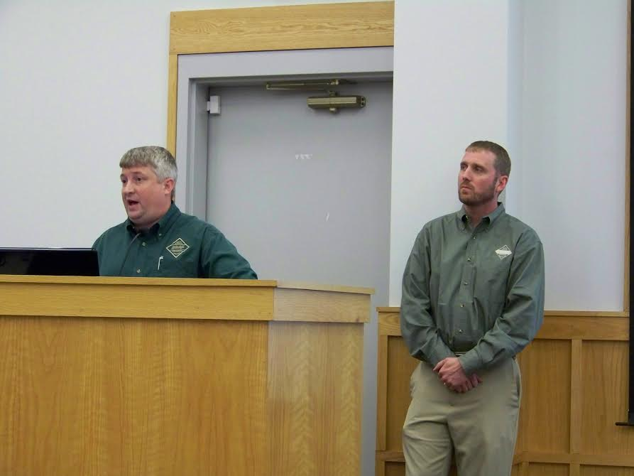 (Left to right) Christian Waters and Mike Hamlin with North Carolina Wildlife discuss a proposed new Smithfield Boat Ramp with members of the Smithfield Town Council on Sept. 1st. WTSB Photo