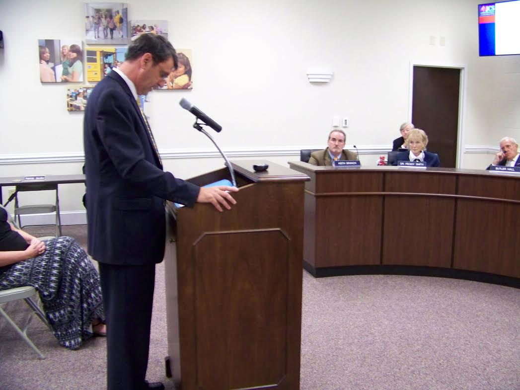 School Superintendent Dr. Ed Croom announces his retirement during Tuesday afternoons school board meeting. WTSB Photo