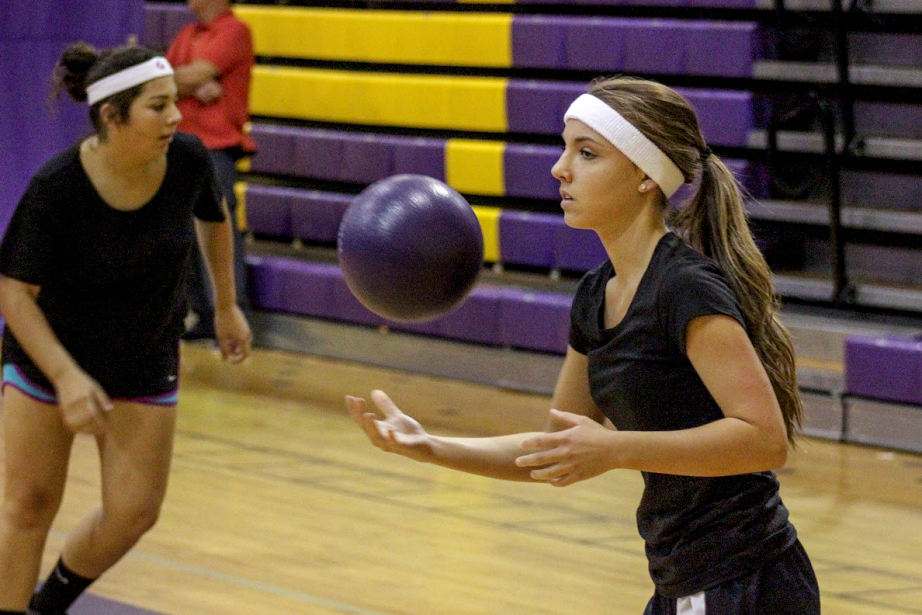 Taylor Driscoll (right) prepares to bring the heat at the CHHS FCA Dodgeball Tournament. Beside her is teammate Maria Juarez.