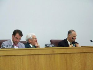 Newly hired Smithfield Town Manager Michael Scott, Interim Town Manager Jim Freeman, and Mayor Andy Moore at the May 2016 town council meeting. JoCoReport.com Photo