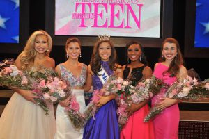 2017 Miss America's Outstanding Teen Competition Top 5 (l-r) Third Runner-Up, Miss Florida's Outstanding Teen Anjelica Jones; First Runner-Up, Miss North Carolina's Outstanding Teen Catherine White; Miss America's Outstanding Teen 2017 Nicole Jia; Second Runner-Up, Miss Georgia's Outstanding Teen Kelsey Hollis; and Fourth Runner-Up, Miss Louisiana's Outstanding Teen Sarah Katherine McCallum. Photos courtesy Miss America's Outstanding Teen