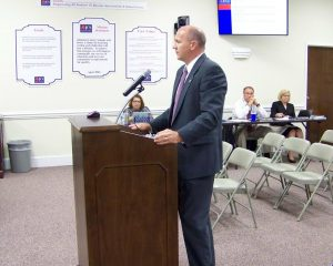 Johnston County Schools Chief Personnel Officer Patrick Jacobs discusses a timeline for development of attendance boundaries for the new Cleveland area middle school with members of the Johnston County Board of Education. JoCoReport.com Photo
